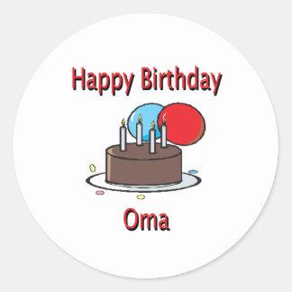 Happy Birthday Oma German Grandma Birthday Design Round Stickers
