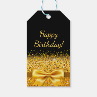 Happy Birthday on black with gold bow sparkle Gift Tags