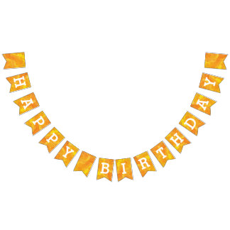 Happy Birthday on Golden Watercolor Bunting