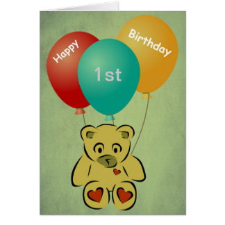 Happy Birthday one year old Bear and Balloons Card