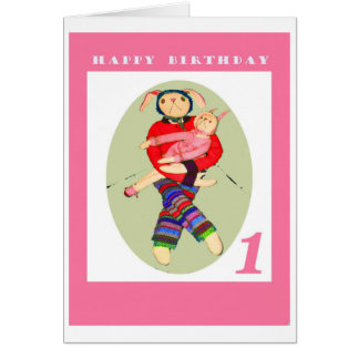 happy birthday , One year old,Bunnies Greeting Card