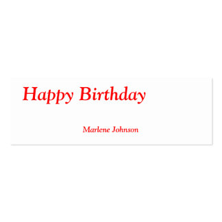 Happy Birthday Option Name Personal Thin Gift Tag Business Card Templates