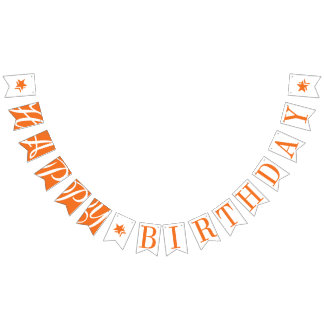 HAPPY BIRTHDAY Orange And White Bunting