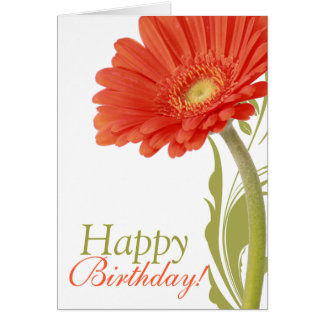 Happy Birthday | Orange Gerbera Daisy Card