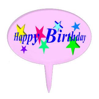 Happy Birthday Oval Cake Pick