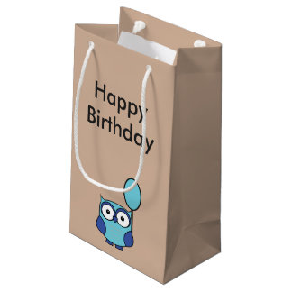 Happy Birthday Owl Blue and Aqua Small Gift Bag