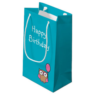 Happy Birthday Owl Pink and Tan Small Gift Bag