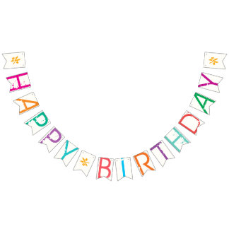 HAPPY BIRTHDAY Paint Splatter Effect Text On White Bunting