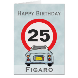 Happy Birthday Pale Aqua Figaro Car Card