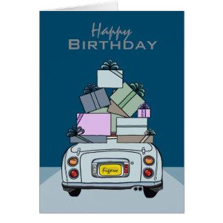 Happy Birthday Pale Aqua Nissan Figaro, Custom Card