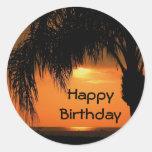 Happy Birthday, palm tree sunset Round Sticker