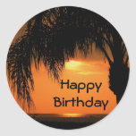 Happy Birthday, palm tree sunset Stickers