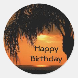 Happy Birthday palm tree sunset Stickers
