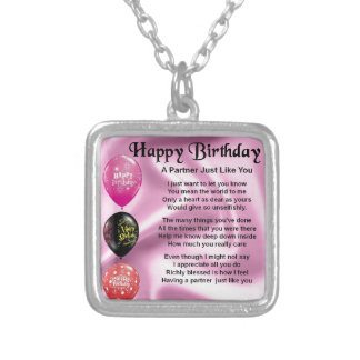 Happy  Birthday Partner Poem Silver Plated Necklace