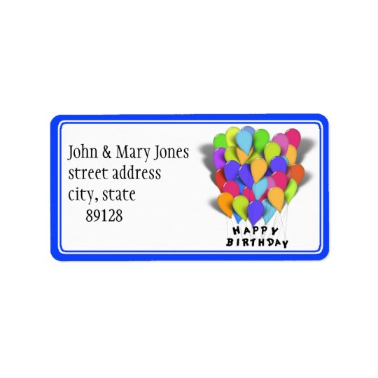 Happy Birthday - Party Balloons Address Label