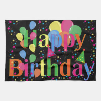 Happy Birthday Party Balloons Tea Towel