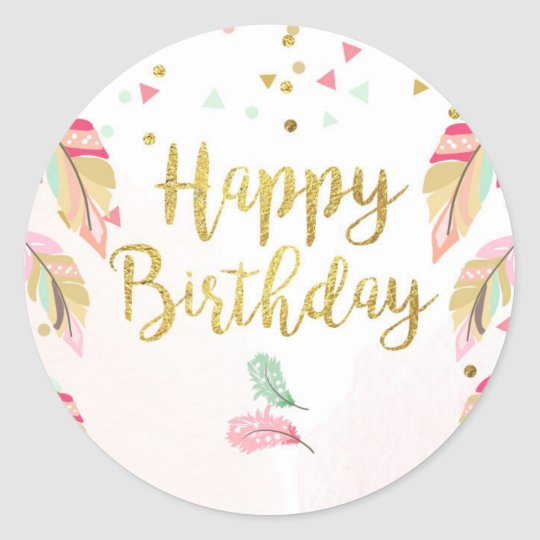 Happy birthday Party Favour Tags Sticker Pink Gold