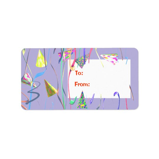 Happy Birthday Party Hats Gift Tag Address Label