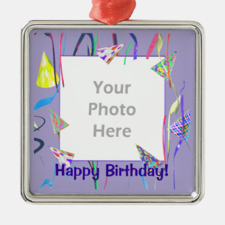 Happy Birthday Party Hats (photo frame) Christmas Ornament