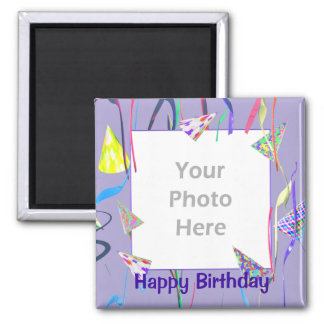 Happy Birthday Party Hats (photo frame) Magnet