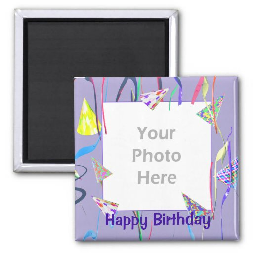 Happy Birthday Party Hats (photo frame) Fridge Magnet