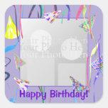 Happy Birthday Party Hats (photo frame) Square Sticker