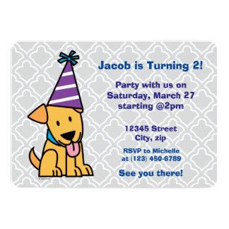 Happy Birthday Party Lab puppy 13 Cm X 18 Cm Invitation Card