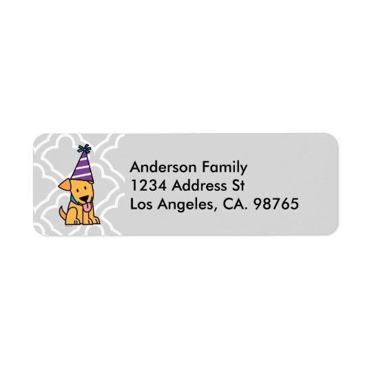 Happy Birthday Party Lab puppy Return Address Label