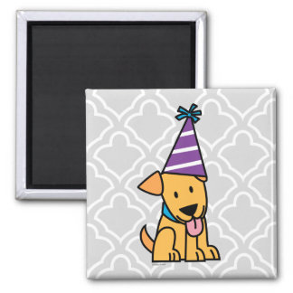 Happy Birthday Party Lab puppy Square Magnet