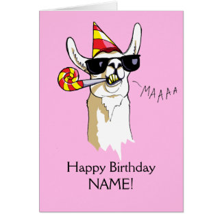 Happy Birthday Party Llama Card Sunnies Template