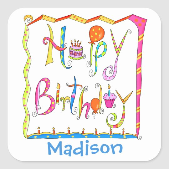 Happy Birthday Party Name Personalised White Square Sticker