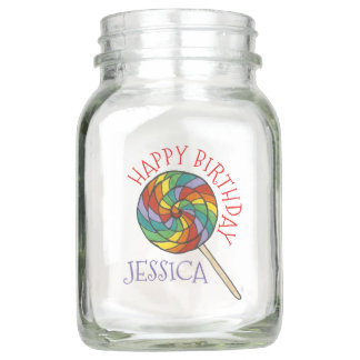 Happy Birthday Party Rainbow Lollipop Centerpiece Mason Jar