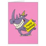 happy birthday party rhino cartoon greeting card