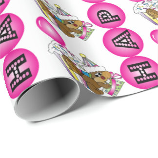 Happy Birthday Party Squirrel | Pink Wrapping Paper