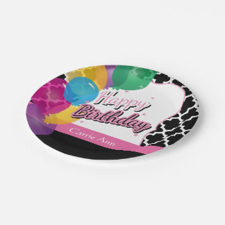 Happy Birthday Party with Balloons in Pink Paper Plate