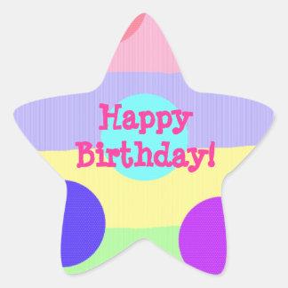 """Happy Birthday!"" Pastel Stripes/Dots [2a] Star Sticker"
