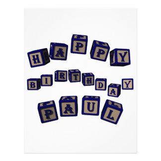Happy Birthday Paul toy blocks in blue Flyers