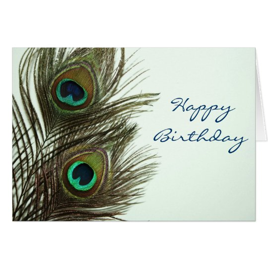 Happy Birthday Peacock Feather Card