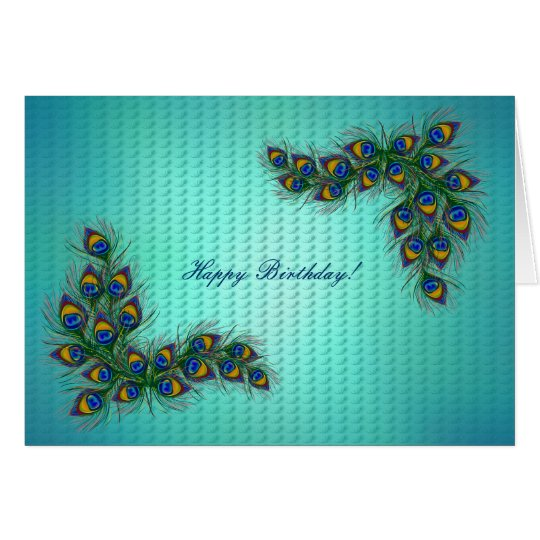 Happy Birthday ! - peacock feather frame Card