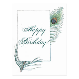 Happy Birthday Peacock Feather Inspirational Postcard