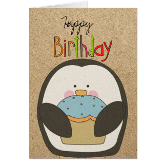 Happy Birthday Penguin and Cupcake Card