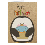 Happy Birthday Penguin and Cupcake Greeting Card