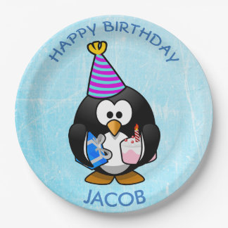 Happy Birthday Penguin Blue Paper Plates