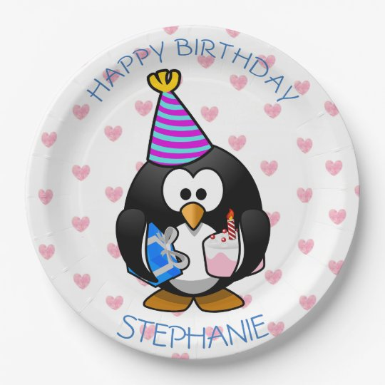 Happy Birthday Penguin Blue & pink Paper Plates