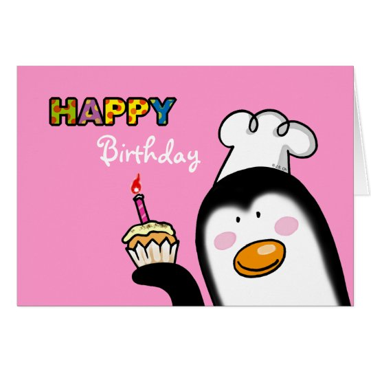 Happy Birthday penguin cupcake Card