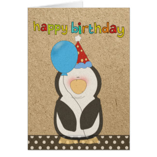 Happy Birthday Penguin holding balloon Card