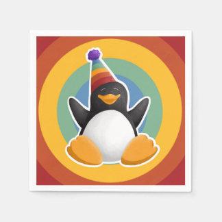 Happy Birthday Penguin Rainbow Circle Napkin Disposable Serviette