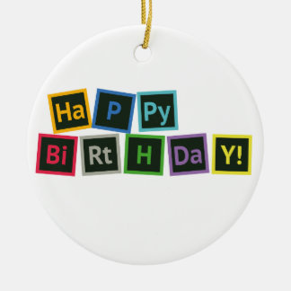 Happy Birthday Periodic Round Ceramic Decoration