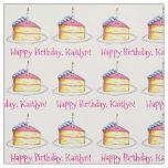 Happy Birthday Personalised Bday Cake Slice Pink Fabric