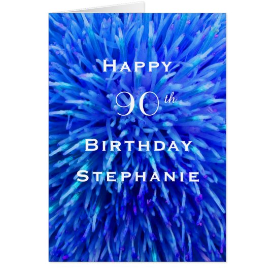 Happy Birthday, Personalised, Multi Blue Abstract Card